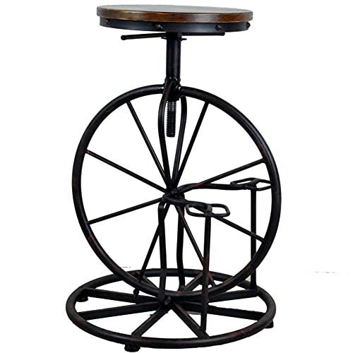 WMYATING Barra giratoria,Asiento redondo de madera sólida,Sillones de barra ajustables de altura vintage,Silla de barra industrial de diseño de bicicleta americana A