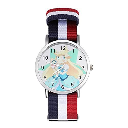 Cartoons Star Vs Forces Evil Watch - Reloj de cristal con escala de espejo trenzado, casual, adecuado para oficina, escuela, hombres y mujeres