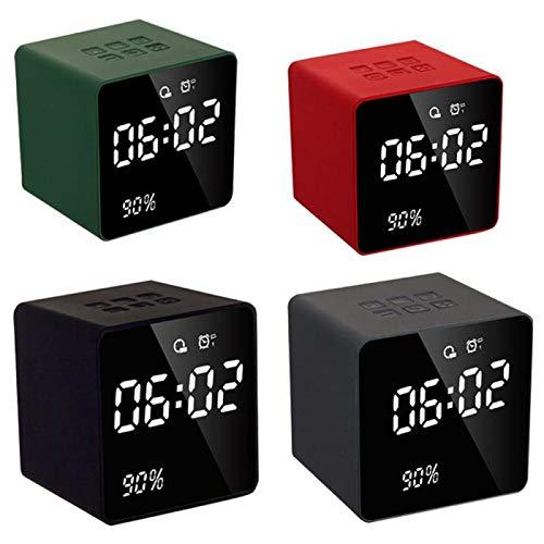 Zay Luay Casa DIRIGIÓ Altavoz Bluetooth de Reloj de Alarma Digital con FM Radio AUX TF USB Reproductor de música Manos Libres con micrófono para Juegos de computadora de teléfono (Color : Green)
