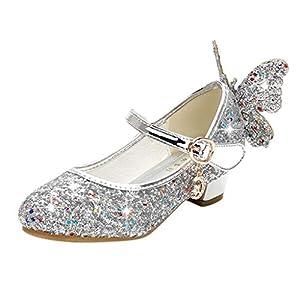 YWLINK Zapatillas De Ballet NiñA Zapatos De Baile De Mariposa con Lentejuelas De Cristal Colgante Princesa Zapatos Fiesta Zapatos De Rendimiento Zapatos De Cristal con Cordones Regalo De CumpleañOs
