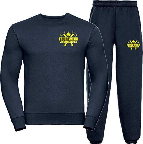 Sweat-Jogginganzug Navy, Feuerwehr ATEMSCHUTZ, Äxte Neongelb L