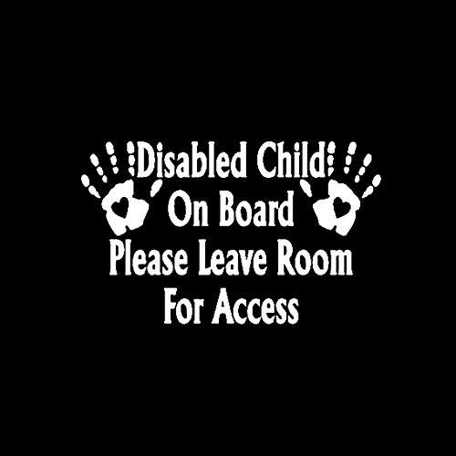 FAFPAY Sticker de Carro 19,5 CM * 12,1 CM Pegatina calcomanía Vinilo Coche Palma niño discapacitado a Bordo por Favor Deje Espacio para Acceso Negro/Plata C10-00708