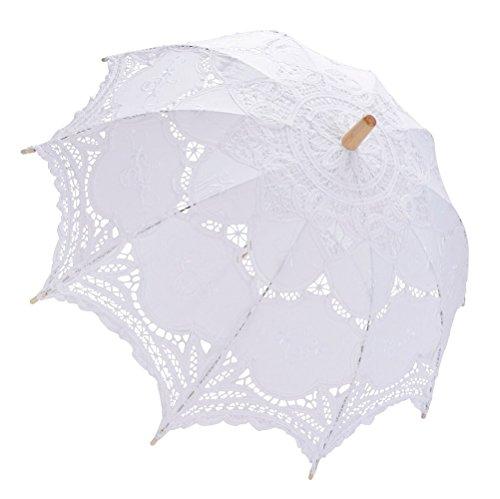 Fascigirl Banquete de Boda de la Dama de Honor Nupcial del Paraguas Bordado del Parasol del Cordón