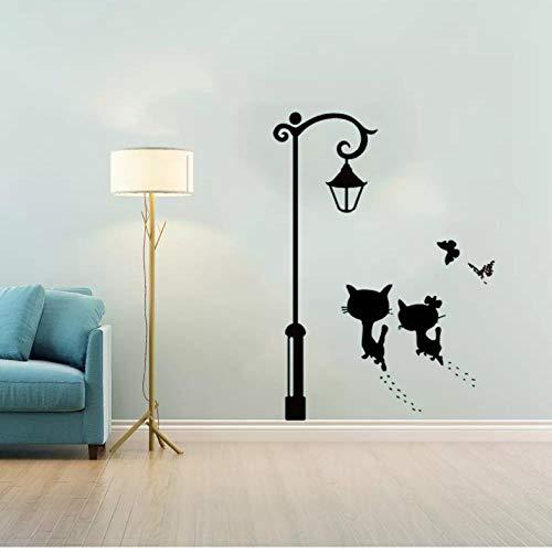 SDBS Chat Mignon Marchant sous Le lampadaire Autocollant Mural Salon Chambre Armoire décoration Murale Art Stickers Autocollants Papier Peint 65x50 cm