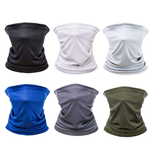 [6 Pack] Unisex Sun UV Protection Face Bandana, Reusable Washable Cloth Fabric Scarf for Cycling Motorcycle, Breathable Neck Gaiter Balaclava for Men Women(Black&Light Gray&White&Dark Gray&Army&Blue)
