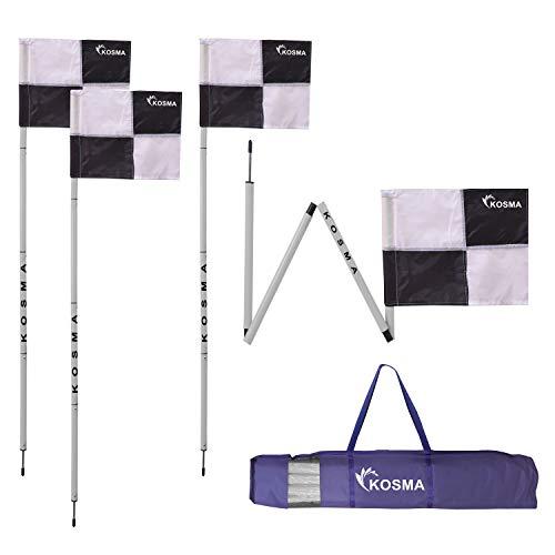 Kosma - Juego de 4 banderas de esquina plegables para entrenamiento de fútbol, tamaño de poste plegable: 5 pies x 25 mm con estaca de metal y banderas de cuadrante negro/blanco