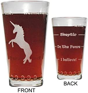 Unicorn Drink 'Till You Believe - 360 Degree Engraved Beer Pint - 16 oz - Permanently Etched Around Glass and Bottom - Fun & Unique Gift!