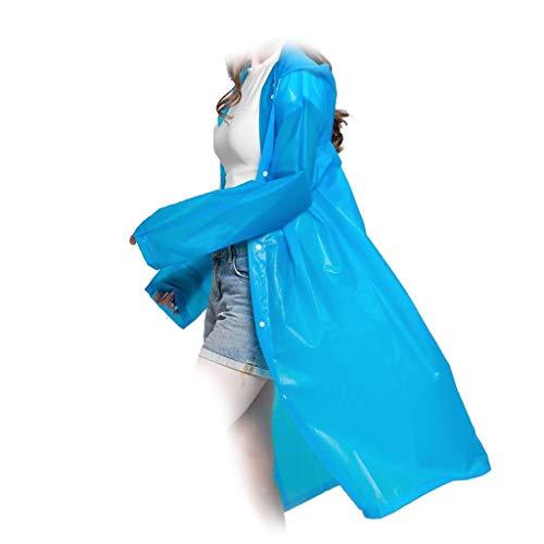 DALUXE Mode Eva Frauen Männer Erwachsener Thick Raincoat leichte Schutzkleidung Outdoor-Poncho Bequeme Wiederverwendbare Camping Raincoat Anzug (5 Stück),Blue 2