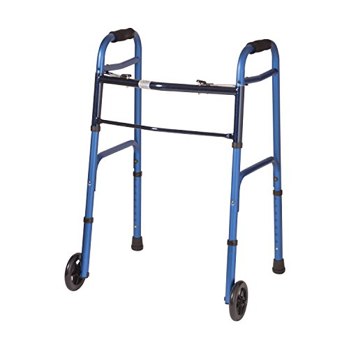 DMI Adjustable Folding Walker, Aluminum Folding Walker with Wheels, Easy Two Button Release, No Assembly Required, Blue