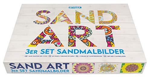 Stylex 46801 - Kreativset Sandmalbilder mit Mandala-Motiven, Komplettset mit 3 Vorlagen, 3 Pinzetten und 45 Kartuschen mit farbigem Sand, zur Gestaltung von Bildern mit Quartzsand