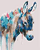 Los principiantes en pintura digital usan burros de colores en un kit digital sobre lienzo