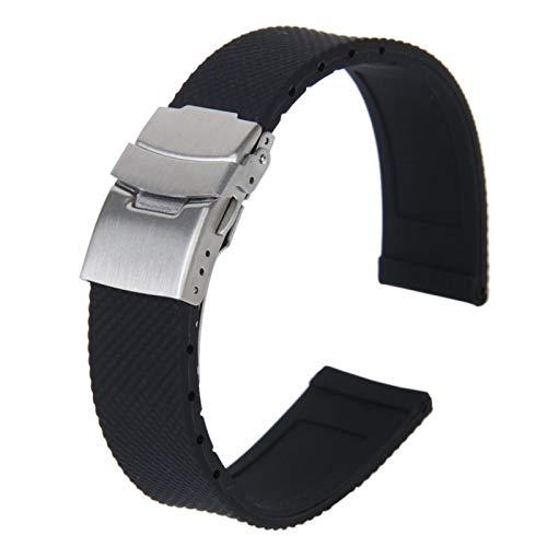 MGHN Correa de Silicona Patrón de celosía Impermeable de 20 mm Silicona Reloj de Silicona Correa con despliegue de Acero Inoxidable Hebilla de Cierre (Negro) (Band Color : 20mm, Size : 1)