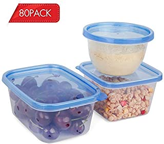[80-Pack] Reusable Not One-time Food Storage Containers with Lids, Microwave & Freezer Safe, BPA Free Plastic Container Set for Kitchen Use, color: blue