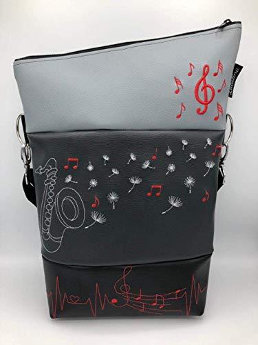 Handtasche Musik Saxophon Tasche Foldover Schultertasche
