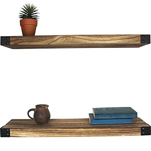 AZANO® Wandregal Regalbretter Gewürzregal Wandboard   61,5 x 15,5 x 3,8 cm   für Küche Badezimmer Wohnzimmer Flur   aus Holz und Metall Schwarz Industrial 2 Stück