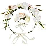 dressforfun 302797 Blumen Haarband und Armband Set, Blumenkranz, größenverstellbar, für Hochzeit oder Trachten Party, bunt