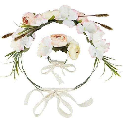 dressforfun 302797 Donna Accesorio Corona di Fiori e Bracciale Set, Multicolore, Carnevale Festa