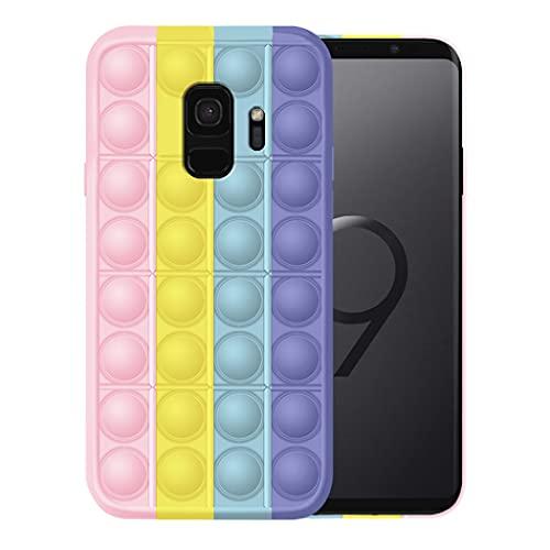 Kompatibel mit Samsung Galaxy S9 Transparent Hülle, Fidget Toy für Samsung S9 Plus Silikon-Weiche Handyhülle Stoßfest Handy Rosa Handy Case (Samsung S9, 1)