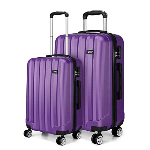 Kono 2 Piece Lightweight Travel Luggage Set ABS Hard Shell Carry on Luggage & Medium Checked Suitcase (Purple)