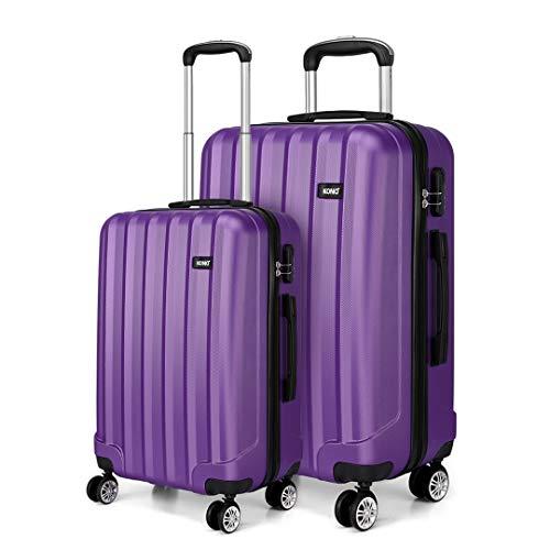 Kono 2 Piece Lightweight Travel Luggage Set ABS Hard Shell Carry on Luggage & Medium Checked Suitcase (Purple)