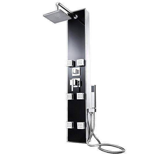 TecTake Panel de ducha grifería con grifo mano cabezal efecto lluvia masaje set negro