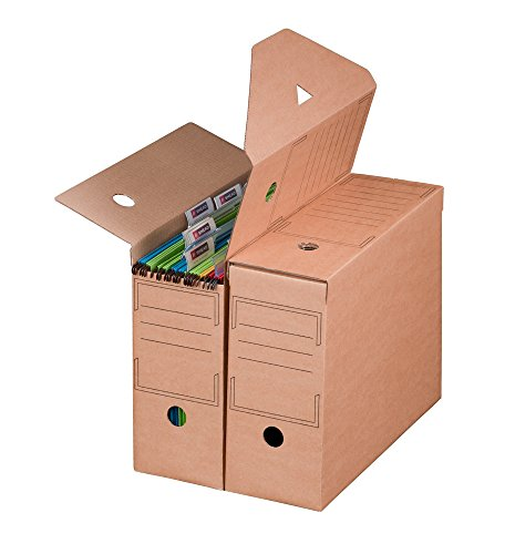 Smartbox Pro Archiv-Ablagebox mit Automatikboden für Hängemappen, 10er Pack, braun
