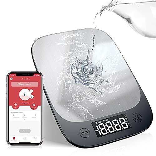 Báscula de Cocina Digital, Sinocare Báscula Digital Bluetooth Para Cocina 5kg/11libras Báscula profesional de acero inoxidable de alta precisión Pantalla LED multifunción para, 3 baterías incluidas
