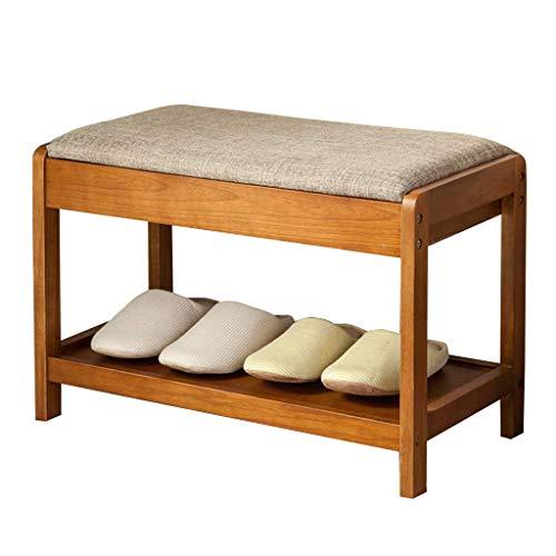 Zapateros Banco de almacenamiento de zapatos de 2 niveles Pasillo de madera Zapatero Otomano Retro Armario organizador de zapatos con cojín de asiento para baño / sala de estar y pasillo-60 & times; 3