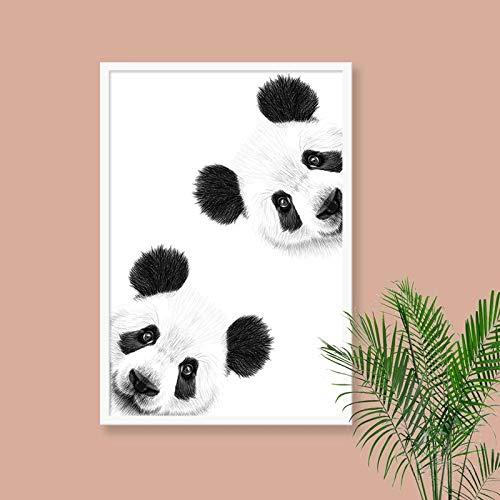 Leuke panda canvas kunst en poster afdrukken nieuwsgierig panda canvas muurschilderingen woonkamer decoratie frameloos schilderwerk