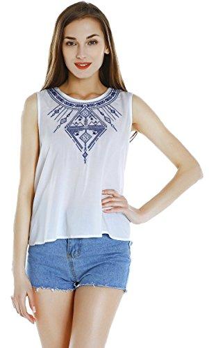 Urban CoCo Women Ethnic Style Sleeveless Embroidery Round Collar T-Shirt Crop Tops (Medium, White)