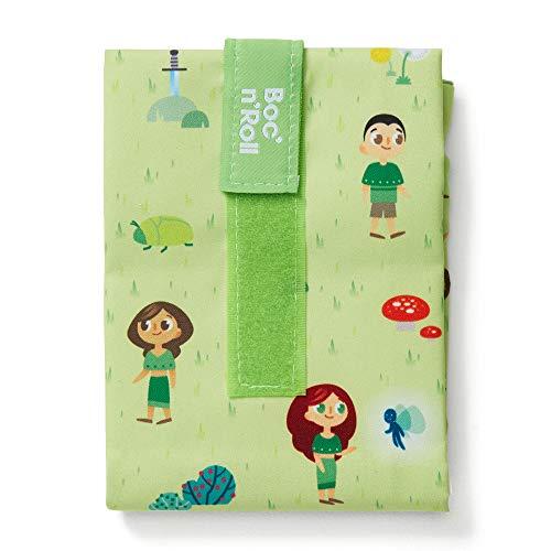 Roll'eat - Boc'n'Roll Kids | Bolsa Merienda Infantil Porta Bocadillos, Envoltorio Reutilizable y Ecológico sin BPA, Forest