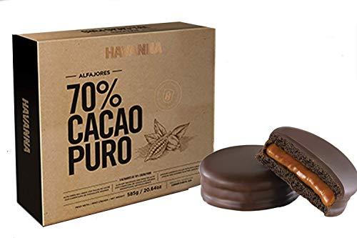 Galletas dobles con relleno de crema de caramelo de leche y cobertura de chocolate - 70% de cacao, caja de 9 piezas, 585 g - Alfajores HAVANNA 70% Cacao Puro (9er-Pack)