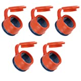 ZIIVARD Food Sealing Bags Cap Seal Cover Magic Buckle 5 Pieces Silicone Orange Moisture-proof Sealing Clips With Lid Fresh Keeping Clamp for Kitchen Food Storage