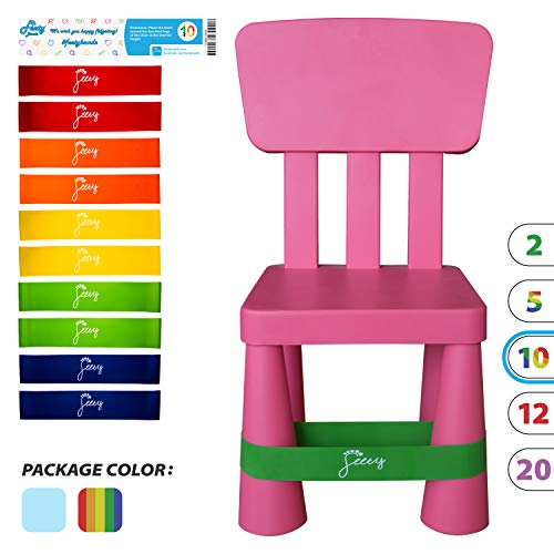 Chair Bands for ADHD Kids - (10-Pack) Bouncy Kick Fidgets for Chairs and Desk Best for School Students and Fidgety Adults   Flexible Seating Classroom Furniture (Colorful) Fidget Feet Band by Feety