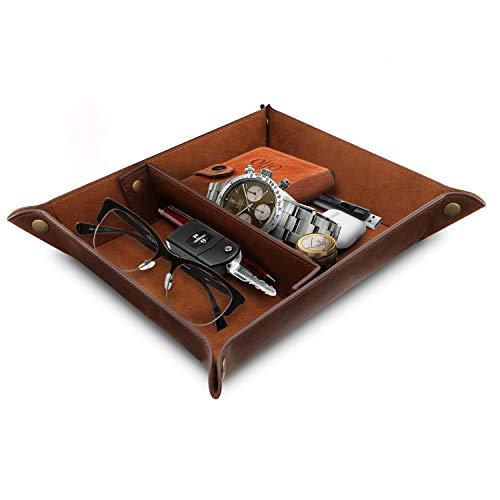 Londo OTTO200 Vassoio in Pelle - Organizzatore - Pratico Contenitore per Portafogli, Orologi, Chiavi, Monete, Telefoni Cellulari e Attrezzature per Ufficio (Marrone Scuro)