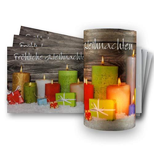 50x Teelichtkarten mit weihnachtlichem Motiv