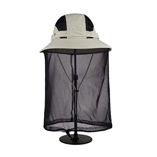 Sunny Actividades Al Aire Libre Unisex Protección UV Gorras Solares con Solapa De Cuello Borde Grande De 12 CM, Hilo Neto Anti-Mosquitos (Color : T1, Size : 61CM)