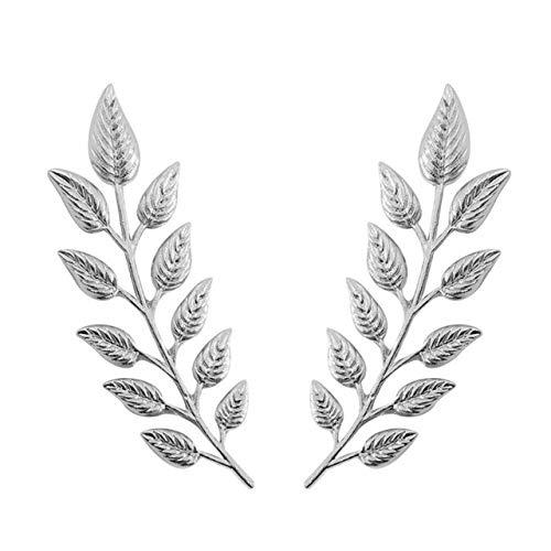 Wonderful Day 1 par de delicados broches de Hojas de árbol Pines para Mujeres Hombres alas de Alce Vintage Palm Crystal Jean Camisas Trajes Pin de Solapa Broche Retro, XZ088-plata