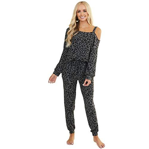 WANJXQUIY Schlafanzug Damen Nachthemden Baumwolle Langarm Winter Pyjamas Set Zweiteiliger Sleepwear Nachtwäsche mit Taschen Schlafanzughosen Loungewear Schlafanzugoberteile Lounge Sets