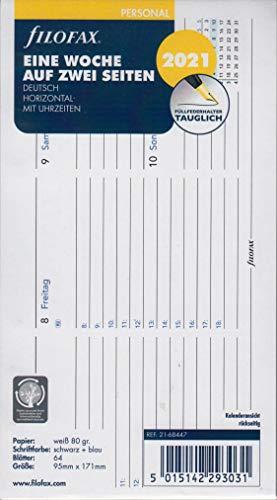 Filofax 2021 Kalender Personal A6 Einlage Kalenderblätter 1Woche 2Seiten Horizontal Deu 21-68447