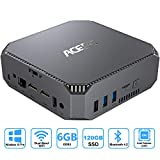 ACEPC Mini PC Intel Celeron J3455,Windows 10 Pro Micro Computer,6GB RAM 120GB SSD,4K HD Graphics,Gigabit Ethernet,Dual Band WiFi