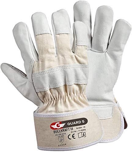 GUARD 5 - Leder- Arbeitshandschuhe 5 Paar/Größe 9 hochwertige robuste Gartenhandschuhe Schutzhandschuhe dornensicher und stichfest mit reißfester Canvas-Stulpe - optimal auch als Bauhandschuhe
