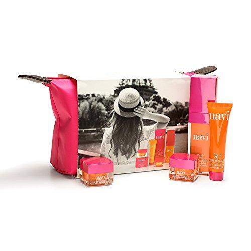 NAVI Neceser Viaje/Set de belleza & Cremas faciales mujer/Kit Hidratante & Antiedad Color Rosa