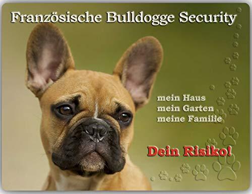 Merchandise for Fans Warnschild - Schild aus Aluminium 20x30cm - Motiv: Französische Bulldogge Security (01)