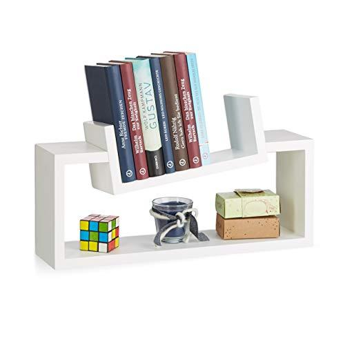 Relaxdays Wandregal 2er Set, modernes Design, Wandboard Holz, Gewürzregal hängend, Regalbrett, schiefe U-Form, weiß
