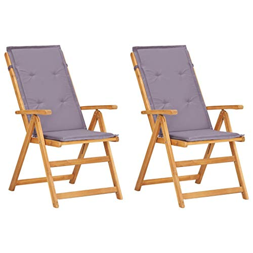 vidaXL 2X Akazienholz Massiv Gartenstuhl Verstellbar Hochlehner Stuhl Klappstuhl Stühle Sessel Gartenstühle Holzstuhl Gartenmöbel Braun