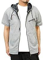 パーカー メンズ 大きいサイズ 半袖 長袖 カモフラ 迷彩 薄手 ジップアップ ゆったり ジップアップパーカー M グレー(半袖)