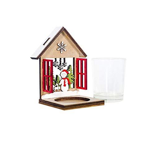 EZQYC Kerzenständer Teelichthalter Weihnachten Holzhaus Teelicht Dekorationen Kerzenhalter Home Hochzeit Restaurant Dekorationen Handwerk Raum Dekor, A1