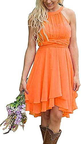 Gemila Short Bridesmaid Dress Chiffon Western Wedding Guest Dress Country Wedding Dress Beach Western Bridesmaid Dresses for Women Halter Homecoming Dress Dark Orange US18W