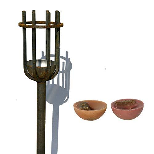 EQT-TEC Antorcha de jardín, 118 cm, oxidada, para jardín, Verano, In